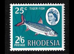 Simbabwe - Rhodesien: 1968, Freimarkenergänzungswert Tigerfisch (M€ 70,-)