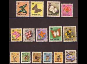 Simbabwe - Rhodesien: 1974, Freimarken Antilopen, Blumen und Schmetterlinge