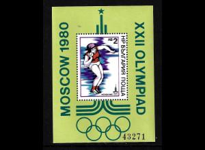 Bulgarien: 1979, Blockausgabe Sommerolympiade Moskau (Leichtathletik)