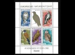 Bulgarien: 1980, Blockausgabe Europäisches Naturschutzjahr (Vögel, M€ 40,-)