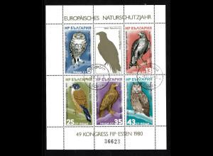 Bulgarien: 1980, Blockausgabe Europäisches Naturschutzjahr (Vögel), Esst.
