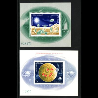 Rumänien: 1972, Blockpaar Apolloprogramm (M€ 90,-)