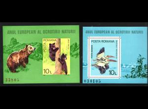 Rumänien: 1980, Blockpaar Naturschutzjahr (Tiere)