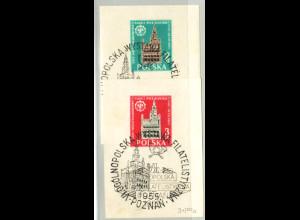 Polen: 1955, Blockpaar Briefmarkenausstellung in Posen (Ausstellungs-SoSt.)