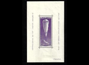 Polen: 1938, Blockausgabe Stratosphärenballon (Blockeinzelmarke ist postfrisch)