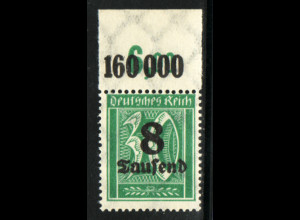 1923, 8 T auf 30 Pfg. WZ Waffeln (Oberrandstück im Plattendruck, M€ 200,-)