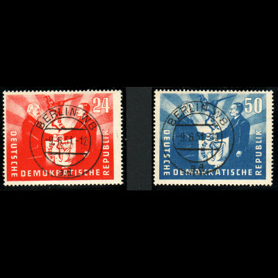 """DDR: 1951, Oder-Neiße-Linie (zentr. Stempel """"Berlin W 8"""")"""