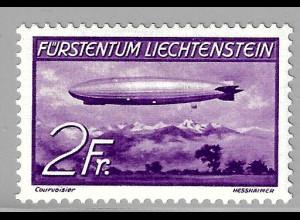 Liechtenstein: 1936, Zeppelin 2 Fr. (Einzelstück mit Falz, gepr. Georg Bühler)