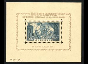 Luxemburg: 1946, Blockausgabe Briefmarkenausstellung Düdingen