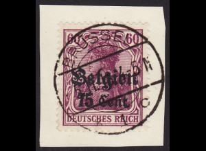 Landespost Belgien: 1916, 75 Cent. (zentr. gest. Briefstück, gepr. Hey BPP),