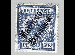 Deutsche Post in Marokko: 1899, Krone/Adler 25 Cts.