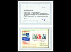 Bizone: 1949, Blockausgabe Exportmesse auf portogerechtem Luftpostbrief