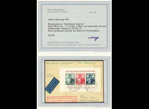 Bizone: 1949, Blockausgabe Exportmesse auf Luftpostbrief, Befund BPP