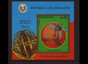 Paraguay: 1973, Blockausgabe Weltraum (Mariner 9)