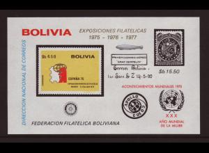 Bolivien: 1976, Blockausgabe Weltraum, Apollo-Sojus, 200 Jahre USA