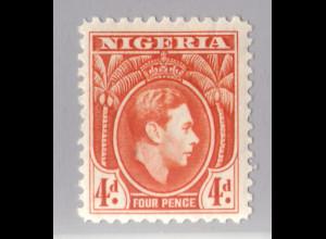Nigeria: 1938, Freimarke König Georg VI. 4 P. (Einzelstück)