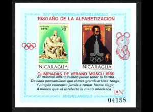 Nicaragua: 1980, Blockausgabe Michelangelo, Alphabetisierungskampagne mit rotem Olympiaaufdruck