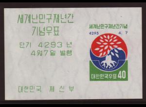 Südkorea: 1960, Blockausgabe Weltflüchtlingsjahr (etwas bügig)