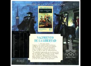 Nicaragua: 1980, Blockausgabe Sommerolympiade Moskau (Überdruckausgabe Alphabetisierungskampagne auf 200 Jahre USA)