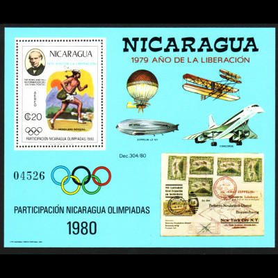 Nicaragua: 1980, Blockausgabe Olympiade