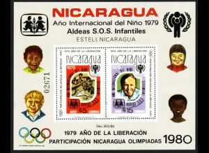 Nicaragua: 1980, Blockausgabe Jahr des Kindes / Olympiade (gezähnt)