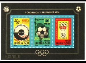 Uruguay: 1974, Blockausgabe Jahresereignisse (Fußball-WM, UPU, Olympiade, M€ 70,-)