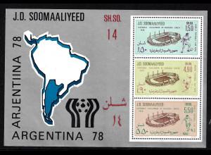 Somalia: 1978, Blockausgabe Fußball-WM Argentinien (Motiv: Fußballstadien)