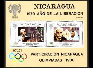Nicaragua: 1980, Blockausgabe Jahr des Kindes / Olympiade / Albert Einstein (gezähnt)