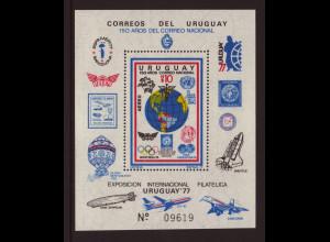 Uruguay: 1977, Blockausgabe Briefmarkenausstellung UREXPO (u. a. Motiv Weltraum Flugzeuge, Zeppelin, etc.)