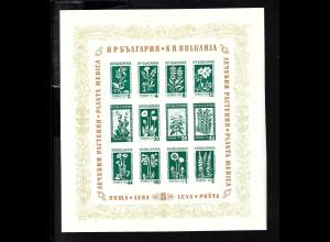 Bulgarien: 1953, Blockausgabe Bergblumen und Heilpflanzen
