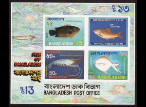 Bangladesch: 1983, Blockausgabe Fische
