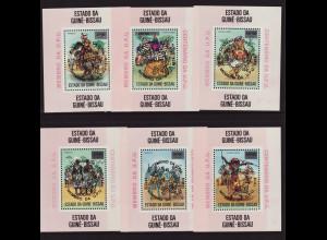 Guinea-Bissau: 1976, Weltpostverein UPU (sechs Einzelblockausgaben mit schwarzem Aufdruck, M€ 100,-)