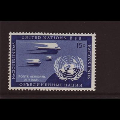 UNO New York: 1951, Flugpost 15 C. in der guten Farbe dunkelpreußischblau mit Vergleichsstück
