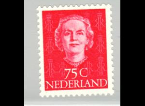 Niederlande: 1951, seltener Freimarken-Ergänzungswert Königin Juliane 75 C.