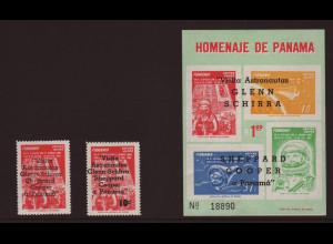 Panama: 1963, Weltraum, Überdruckausgabe Besuch der Raumfahrer (Block und Satz)
