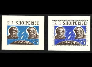 """Albanien: 1963, Weltraum Blockpaar """"Wostok 3 und 4"""" (gez. und ungezähnt)"""
