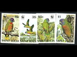 St. Lucia: 1986, Papageien (WWF-Ausgabe)