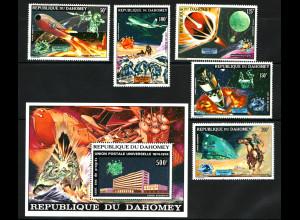 Dahomey: 1974, Weltpostverein UPU (Satz und Block, teilweise Weltraummotive)