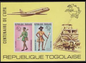 Togo: 1974, Blockausgabe UPU durchstochen (Motiv: Flugzeug / Eisenbahn)