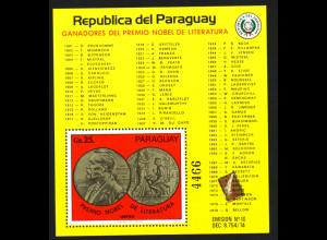 Paraguay: 1978, Blockausgabe Literaturnobelpreis
