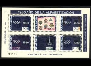 Nicaragua: 1980, Überdruck-Blockausgabe Sommerolympiade Moskau