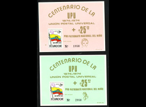 Ecuador: 1974, Blocksatz Weltpostverein (UPU)