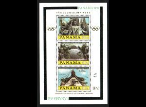 Panama: 1980, Block Olympisches Jahr mit Goldaufdruck (u. a. Weltraum)