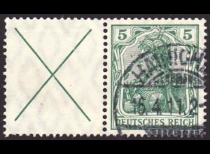 1910, Germania-Zusammendruck: X + 5 (M€ 350,-)