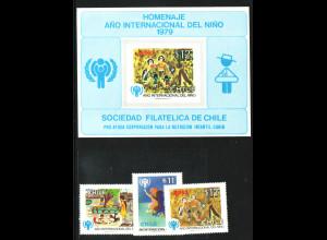 Chile: 1979, Jahr des Kindes (Satz und katalogisiertes Gedenkblatt)