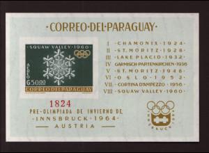 Paraguay: 1963, Blockausgabe Sportzusammenarbeit ungezähnt (Winterolympiade Squaw Valley, M€ 170,-)