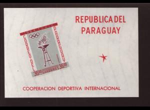 Paraguay: 1962, Blockausgabe Sportzusammenarbeit ungezähnt (Sommerolympiade Tokio, M€ 140,-)