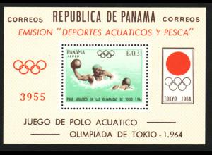 Panama: 1964, Blockausgabe Sommerolympiade Tokio (Wasserball, gezähnt)