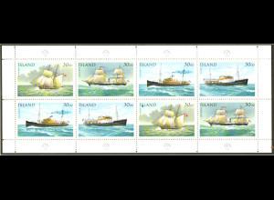 Island: 1991, Kleinbogen Postschiffe