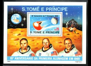 Sao Thome und Principe: 1980, Blockausgabe 10. Jahrestag der Mondlandung